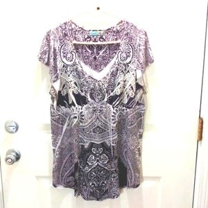 Unity woman's grey/light grey beaded front top size XL